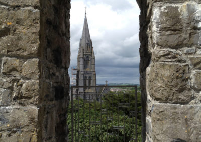 The steeple of St Mary of the Rosary from Nenagh Castle