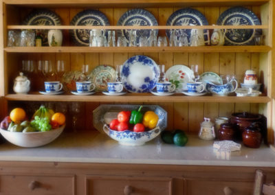 The cabinet in the kitchen
